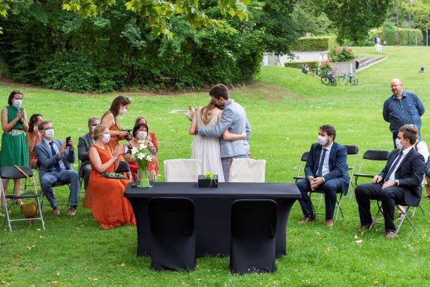 Huwelijk in het park, zicht op park